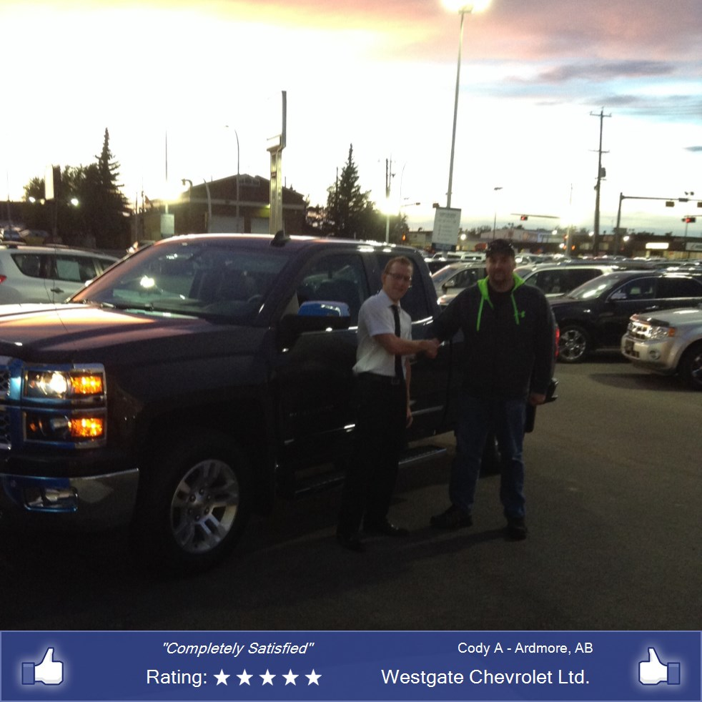 Westgate Chevrolet Ltd Customer Rating Review For Cody