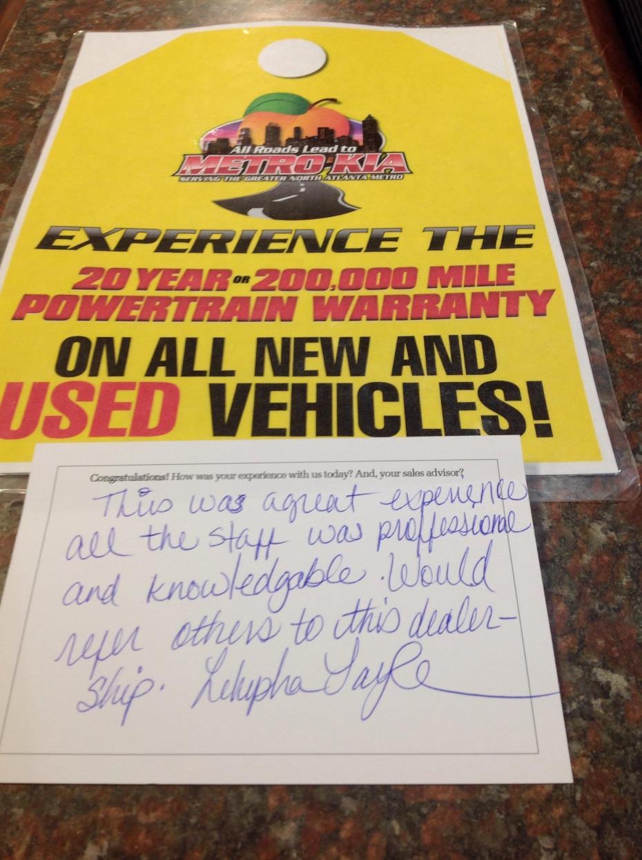 Metro Kia Atlanta review photo 2